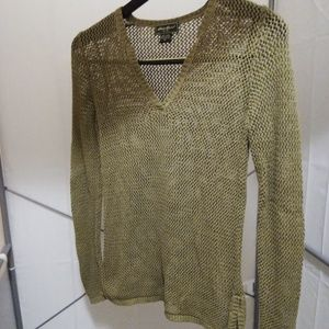Knit V-Neck Crochet Sweater by Eddie Bauer